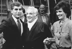 Leonard Bernstein meets with Michael and Kitty Dukakis at Tanglewood