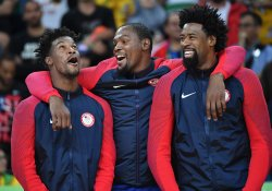 Jimmy Butler Kevin Durant and DeAndre Jordan celebrate at Rio Olympics