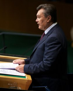 Ukraine President Viktor Yanukovych addresses the 67th session of the General Assembly at the United Nations