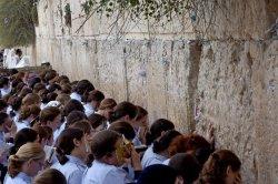 Jewish Girls Pray At The Western Wall, Jerusalem