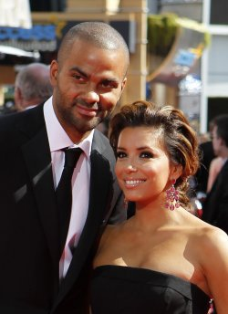 Eva Longoria-Parker and Tony Parker arrive at the 62nd Primetime Emmy Awards in Los Angeles