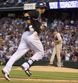 Rockies Gonzalez Hits Two-Run Home Run Against the Padres in Denver
