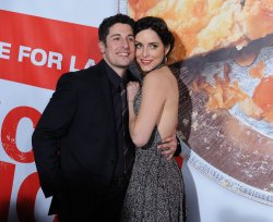 "Jason Biggs and Jenny Mollen attend the ""American Reunion"" premiere in Los Angeles"