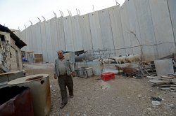 Palestinian Keeps Sheep Near Israeli Separation Wall In Abu Dis,West Bank