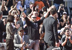 Giants Cody Ross is introduced at a civic celebration in San Francisco