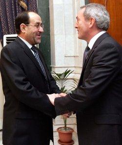 Iraqi Prime Minister Nuri al-Maliki meets with Britians Defense Secretary Hutton in Baghdad