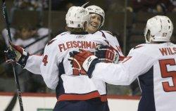 Capitols Fehr and Fleischmann Celebrate Goal in Denver