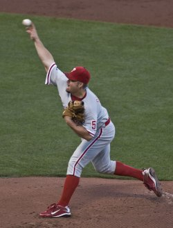 Philadelphia Phillies Joe Blanton pitches to the San Giants in game four of the NLCS in San Francisco