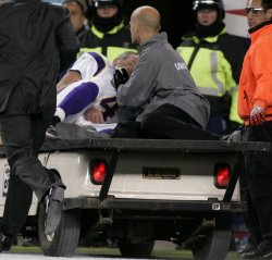 Vikings Favre carted off field after injury against Patriots at Gillette Stadium in Foxboro, MA.