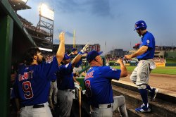 Chicago Cubs Reed Johnson is congratulated by teammates in Washington