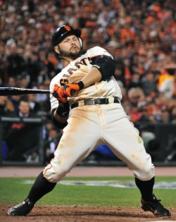 Giants' Cody Ross back away from a wild pitch during game 2 of the World Series in San Francisco