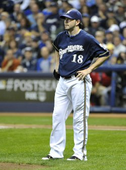 Brewers' pitcher Shaun Marcum reacts during game 2 of the NLCS in Milwaukee