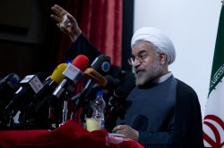 Iranian Presidential Candidate Hasan Rouhani delivers speech in Tehran