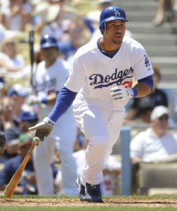 Los Angeles Dodgers Xavier Paul bats against the Pittsburgh Pirates at Dodger Stadium in Los Angeles