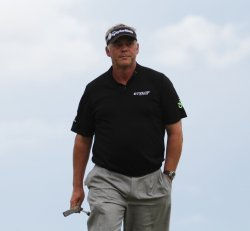 Darren Clarke during the final round of the Open Championship in England.