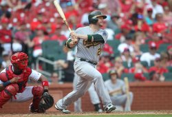 Oakland Athletics Stephen Vogt hits home run