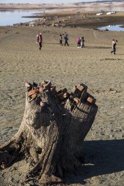 California's drought seen at Folsom Lake