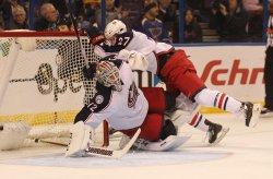 Columbus Blue Jackets Ryan Murray collides with his goaltender Sergei Bobrovsky