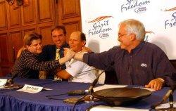 Steve Fossett goes around world in balloon