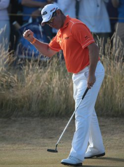 Lee Westwood celebrates a birdie at the Open Championship