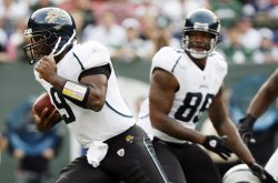 Jacksonville Jaguars David Garrard runs for an 11 yard touchdown in the second quarter against the New York Jets in week 10 of the NFL season at Giants Stadium