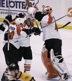 Flyers celebrate win in Game 7 of the NHL Eastern Conference Semi-Final in Boston, MA.