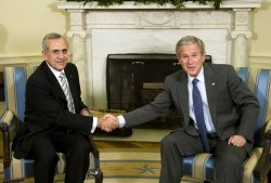 U.S. President Bush meets with Lebanese President Sleimanin Washington