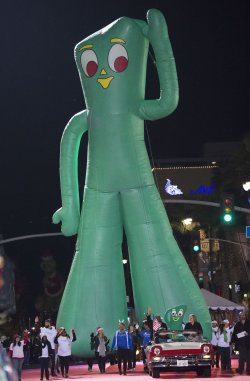 """A giant figure of """"Gumby"""" is seen in the 84th Annual Hollywood Christmas Parade in Los Angeles"""