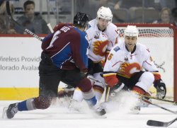 Flames Boyd and Giordano Block Avalanche Liles Shot in Denver