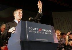 Scott Brown celebrates win in Massachusetts special election for U.S. Senate.