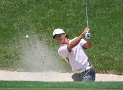 Anthony Kim hits from a bunker at the US Open in Maryland