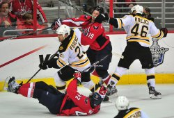 Bruins David Krejci hits Washington Capitals' Nicklas Backstrom in the face in Washington