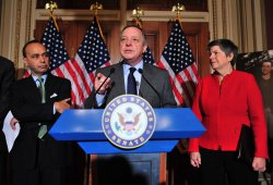 Senate Assistant Majority Leader Richard Durbin attends a press conference on the Dream Act in Washington