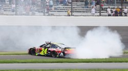 Jeff Gordon does second burnout after winning Brickyard 400