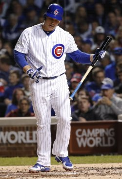 Cubs Rizzo reacts after strike out in the NLCS