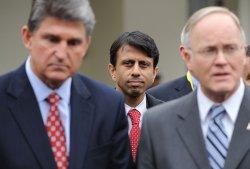 Louisiana Gov. Jindal speaks to the media at the White House in Washington.