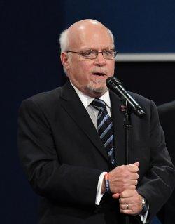 President of Hofstra University Stuart Rabinowitz speaks before first presidential debate