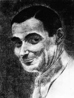Detail of a 1938 charcoal sketch of Irving Berlin
