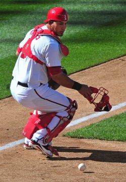 Nationals' catcher Wilson Ramos mishandles a ball in Washington