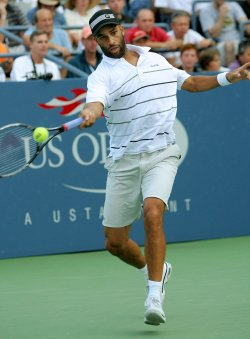 James Blake takes on Milos Raonic in third-round action at the U.S. Open in New York