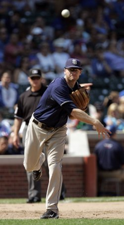 San Diego Padres Third Baseman Headley Throws Out Cubs Barney