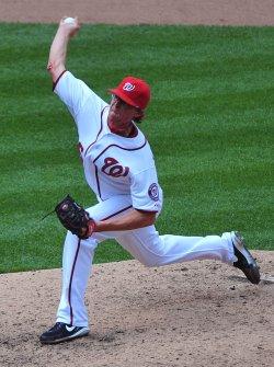 Washington Nationals pitcher Tyler Clippard pitches in Washington.