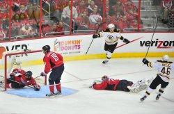 Boston Bruins Tyler Seguin celebrates after scoring the game winning goal in Washington