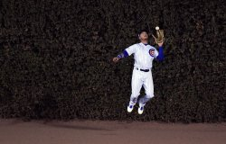 Cubs Almora catches fly against Dodgers in NLCS