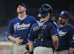 Padres' pitches Jon Garland meets on the mound with teammates in Washington