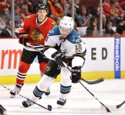 Sharks Heatley shoots against Blackhawks in Chicago