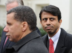 New York Gov. Paterson and Louisiana Gov. Jindal speak to the media at the White House in Washington.