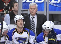 Blues Coach Hitchcock Stands on Bench in Chicago