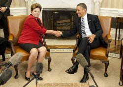 U.S. President Barack Obama meets with Brazilian President Dilma Rousseff in Washington