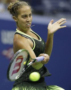 Madison Keys hits a forehand at the US Open